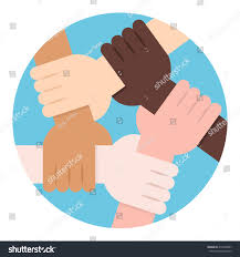 solidarity circle five hands holding each stock vector 410203867