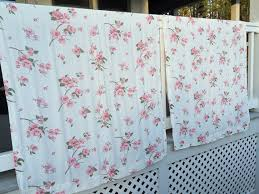 vintage fabric 2 shabby chic curtain panels pink dogwood flowers