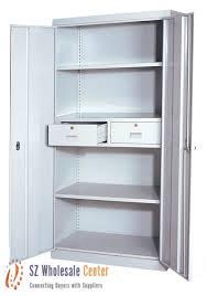 Small Two Door Cabinet Steel High Storage Cabinet With Swinging Steel Doors Black