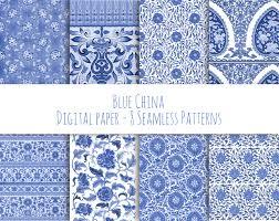blue china instant download digital paper vintage seamless