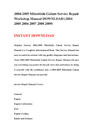 2004 2009 mitsubishi galant service repair workshop manual download u2026