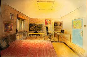 how to draw one point perspective bedroom with furniture youtube