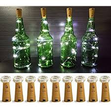 Christmas Outdoor Decorations Cork by Amazon Com Lxs Pack Of 9 Cork Shape Wine Bottle Lights Silver