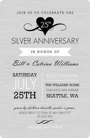 anniversary party invitations gray western style silver anniversary invitation 25th