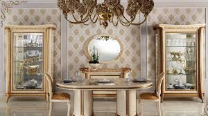 Italian Dining Room Furniture Gold Painted Cabinet For Luxury Italian Dining Room Decorating