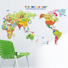 World Map Cartoon by Kids Colorful Global World Map Animals Wall Stickers Cartoon
