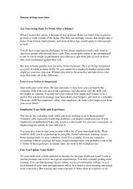sle resume cover letter exles cover letter exles for returning to work templates