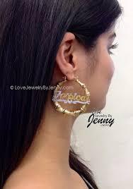 hoop earrings with name personalized hoop bamboo and name earrings