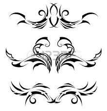 set of 3 different tribal tattoos in polynesian style royalty free
