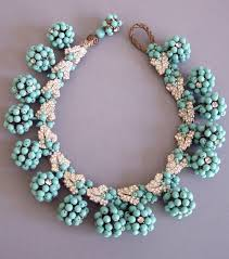 daily miriam haskell aqua glass beaded cluster parure