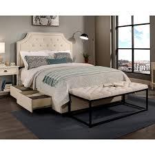 Tufted Platform Bed Republic Design House Audrey King Cal King Size Ivory Tufted