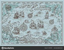 Old Map Background Old Map Caribbean Sea Pirate Ships Treasure Islands Fantasy