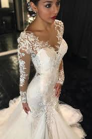 custom wedding sleeve lace mermaid wedding dresses see through