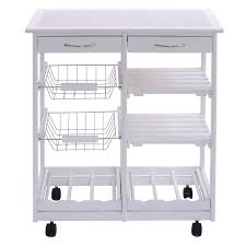 Kitchen Cart With Drawers by White Rolling Kitchen Trolley Cart With Pull Out Shelves Kitchen