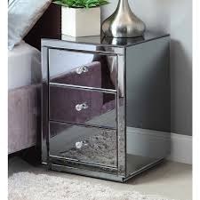 grey metal bedside table smoke mirrored bedside table chest mirror furniture