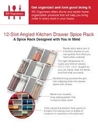 Spice Rack In A Drawer Amazon Com Kd Organizers 12 Slot Angled Kitchen Drawer Spice Rack