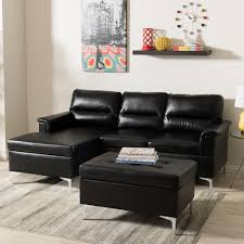 faux leather living room furniture furniture the home depot kinsley 3 piece contemporary black faux leather upholstered left facing chase