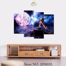 aliexpress com buy 3 4 5 pieces mermaid wall art print canvas