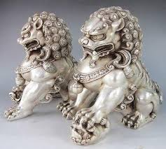 fu dog statues silver color guardian lion foo fu dog statue pair on