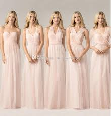Light Pink Bridesmaid Dresses 2016 New Styles Simple Design Light Pink Bridesmaid Long Dress