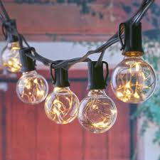 copper globe string lights led g40 string lights with 25 led warm globe bulbs ul listed for