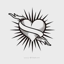 vintage heart tattoo design vector free download