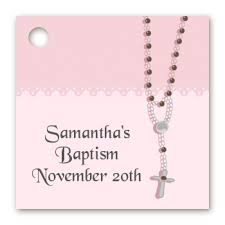 baptism rosary baptism christening favor tags rosary pink favor tags