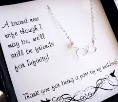 thank you bridesmaid cards sterling silver infinity necklace bridesmaid gifts pearl