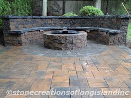 Paver Patio Designs With Fire Pit Interior Outstanding Firepit And Stone Bench Also Paver Patio