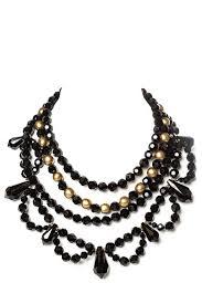 black beaded necklace images Karl lagerfeld black gold multi strand beaded necklace jpg