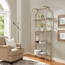 Brass Bookcase Aimee Gold Glass Etagere Crosley Furniture Free Standing Shelves