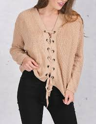 knitted sweater front lace up knitted sweater for