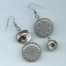 earing design optical illusion earrings black and white eye illustration