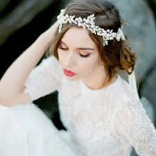 wedding headpiece tuanming fashion handmade silver pearl headband leaf headpiece