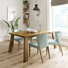 lincoln oak dining table with 4 x hudson light cyan dining chairs