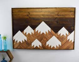 wood wall modern mountain range wood wall hanging modern