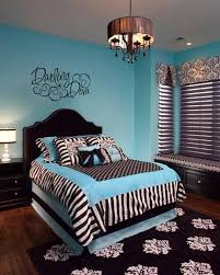 Black And White Bed Bedroom Sweet Blue Theme Room With Blue Furry Rug And White Sheer