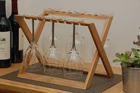 hangover wine glass rack foldable countertop bamboo stemware