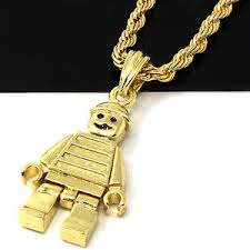 necklace gold man images Mens 14k gold plated lego man pendant 24 quot rope chain hip hop jpg