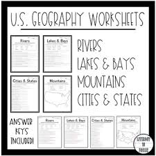 geography worksheets rivers bays lakes mountains cities