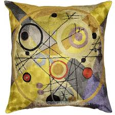 cushion covers for sofa pillows kandinsky modern throw pillows circles in circle yellow cushion