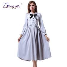 winter casual dress women long sleeve dress bow vintage blue
