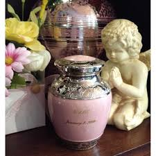 baby urn infant urns pink and silver small vase