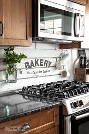 shiplap kitchen backsplash with cabinets diy this charming farmhouse bakery kitchen sign scrap wood
