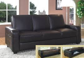 collection in leather sofa bed with storage black faux leather