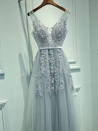 a line grey tulle with lace appliqued v neck prom dresses long