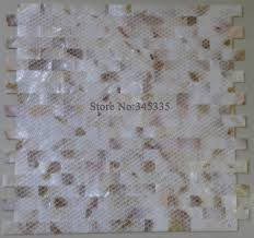 groutless brick mother of pearl shell mosaic tile pink yellow