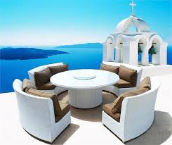 Round Patio Furniture Set by Cassandra Ethereal White Round Dining Set