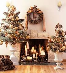 beautiful fireplace decoration with candles wreaths and
