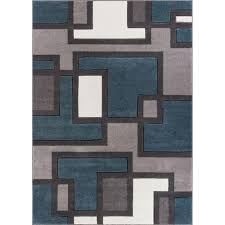 Modern Area Rugs Well Woven Ruby Imagination Squares Blue 6 Ft 7 In X 9 Ft 3 In